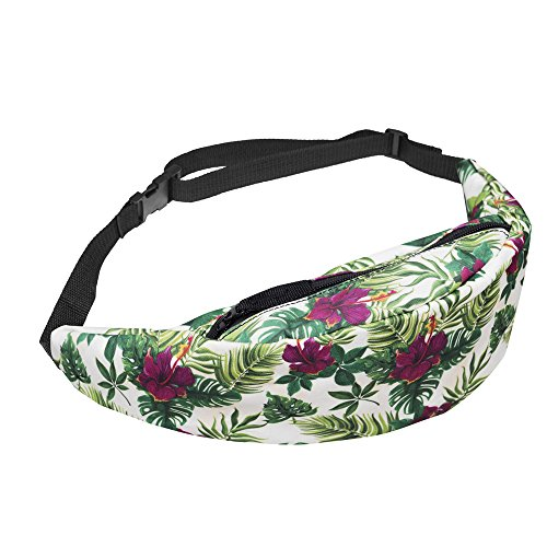 WHO CARES 3D Colorful Printing Hiking Fanny Packs Girls Waist Bag for Men Money Belt Travelling Mobile Phone Bag (Purple TROPICALFLOWERS)