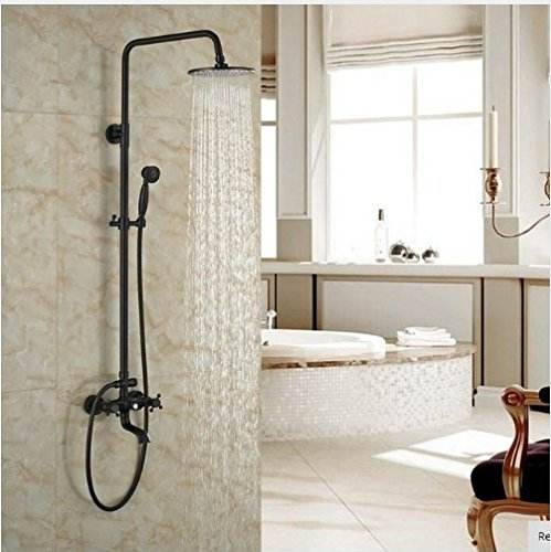 Gowe Oil Rubbed Broze Shower Set With Hand Shower 8-in Rainfall Shower Faucet Wall Mounted 0