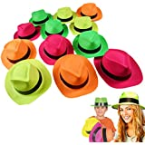 Neon Plastic Gangster Hats - 12 Pack - Dress Up Toy, Party Favor & Accessory For Photo Booths & Themed Parties - Assorted Colors - By Dazzling Toys
