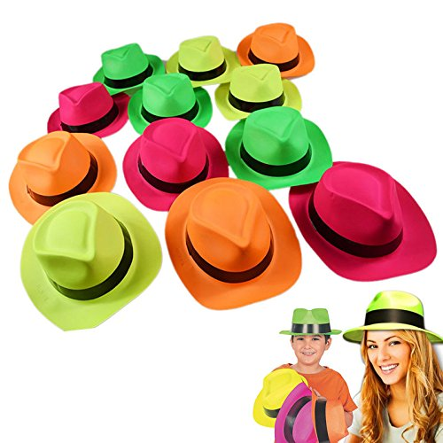 Neon Plastic Gangster Hats - 24 Pack - Dress Up Toy, Party Favor & Accessory For Photo Booths & Themed Parties - Assorted Colors - By Dazzling (No Budget Halloween Costumes)
