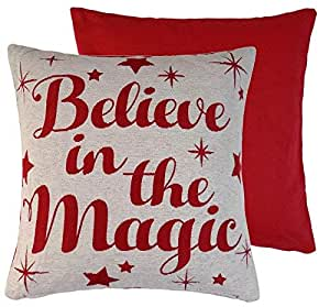 2X Believe In The Magic Roja y Crema Tejido Chenilla Fundas Cojín