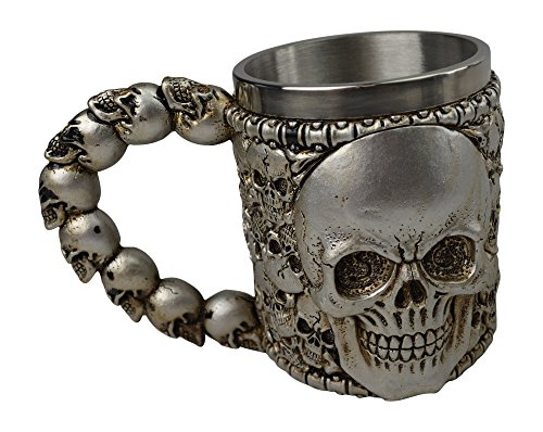 KW Collectible Gift Co.Medieval Multiple Skull Skeleton Zombie Coffee Mug Cup 3D Gothic Ossuary Style Drinking Tankard Stein Red Purple Silver White with Red Jeweled Eyes (Scary Halloween Coffee Mugs)