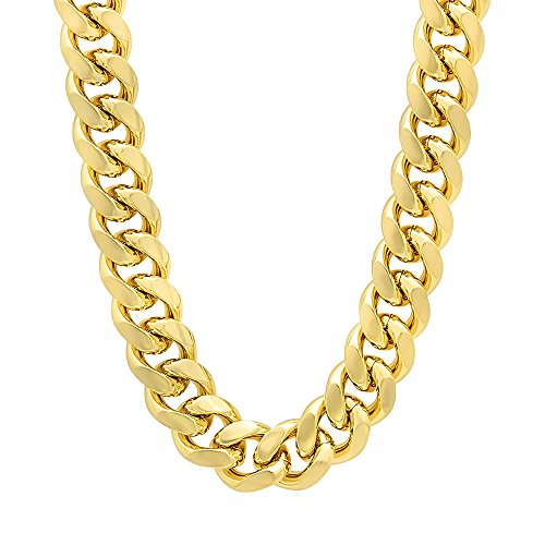 The Bling Factory Men's 10.5mm 14k Gold Plated Miami Cuban Link Chain Necklace, 24