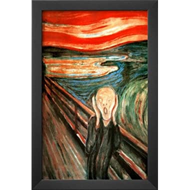 Professionally Framed Edvard Munch (The Scream) Art Poster Print - 11x17 with Solid Black Wood Frame