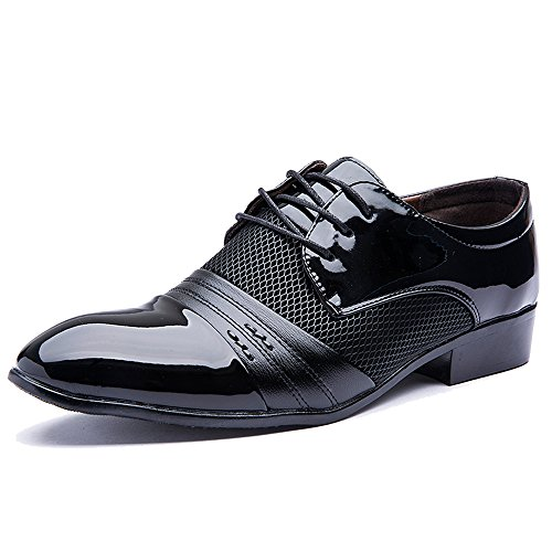 Rainlin Men's Breathable Leather Lined Perforated Dress Oxfords Shoes Black US 11