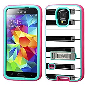 One Tough Shield ? Hybrid 3-Layer Kick-Stand Phone Case (Teal/Pink) for Samsung Galaxy S5 / S-V - (Piano B/W)
