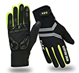 FDX Cycling Gloves Windproof Gel Padded Touchscreen Compatible Full Finger Gloves (Black/Yellow, Medium)
