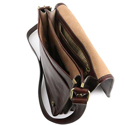 Tuscany Leather TL Messenger - Bolso en piel con bandolera 2 compartimentos Marrón Maletines en piel Negro