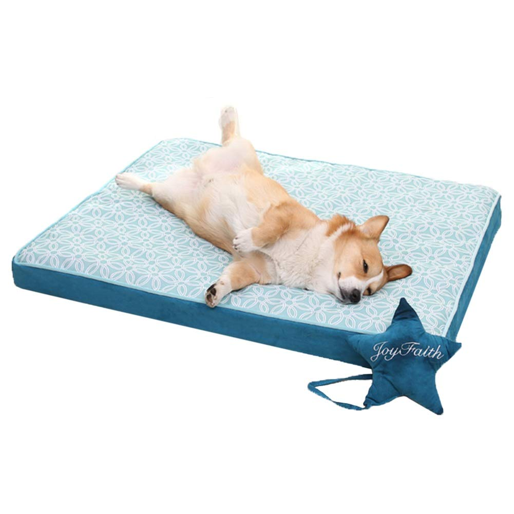 L 90×70×8cm LXLA Rectangle Waterproof Pet Bed Cushion with Bolsters, Perfect for Medium & Large Dogs, Removable Cover & Memory-Foam (Size   L 90×70×8cm)