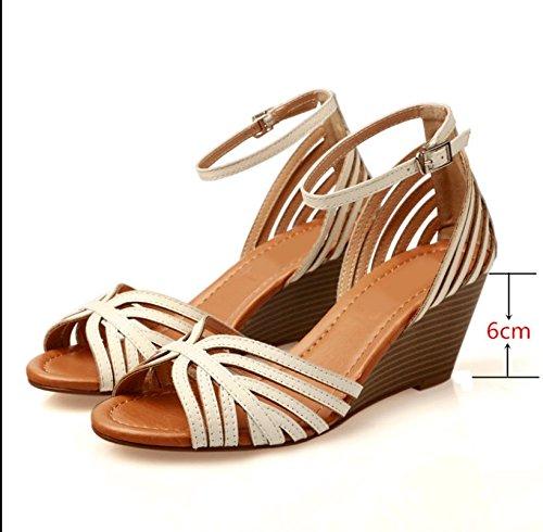 Verano Mujer zapatos de cuero Sandalia de verano boca de pescado,43 White-6.5 cm high heel