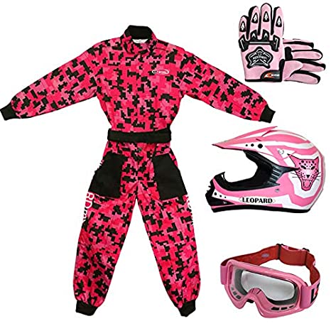 Leopard LEO-X17 Pink Kids Motocross Motorbike Helmet (S 49-50cm) & Gloves (S 5cm) & Goggles + Kids CAMO Motocross 1PC Suit (S 5-6Yrs) Touch Global Ltd