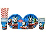 Thomas the Tank Engine Party Supplies Pack for 16 Guests: Straws, Dessert Plates, Beverage Napkins, and Cups