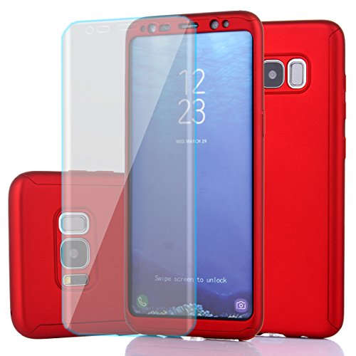 REDELEPHAN Samsung Galaxy S8 Case,Full Body Protection Ultra-Thin Hard PC Case With A Soft HD Screen Protector 360 All Round Anti Scratch Removable Hybrid Cover For Galaxy S8 (Red)