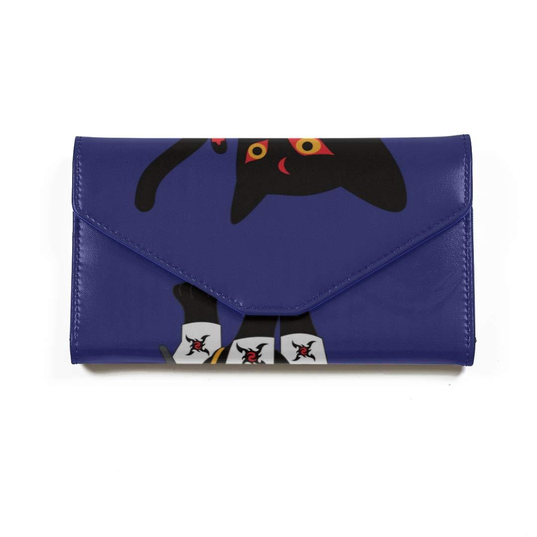 Amazon.com | Black Cool Ninja Cat Travel Passport Wallet Tri ...