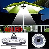 Mallallah - Lámparas de campaña para sombrilla de jardín con 48 Bombillas LED inalámbricas, 3 Modos Diferentes de iluminación para Patio, terraza, jardín, Paraguas Grande