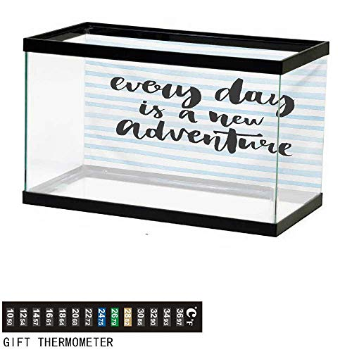 wwwhsl Aquarium Background,Inspirational Quotes,Every Day is a New  Adventure Calligraphy Text Watercolor Stripes Print,Pale Blue Fish Tank  Backdrop