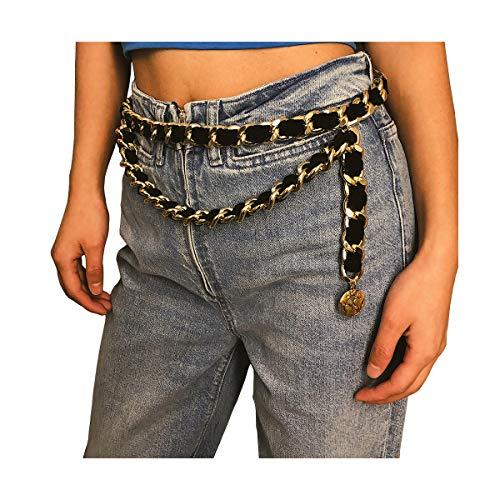 (Mrotrida Women's Chain Belts Fashion Layered Flocking Cloth Belts for Dress Vest Jeans for Waistline:28-34inch)