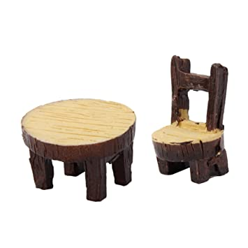 Sessel aus Holz f/ür Puppenhaus Puppenhausm/öbel Gartenm/öbel Deko Garten 2pcs Milopon Micro Landschaft Deko Miniatur Gartentabelle