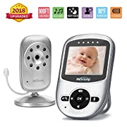 Video Baby Monitor with Camera and Audio [2018 Upgraded], Infrared Night Vision, Two Way Talk Back, ECO Power-saving Mode,Temperature Monitoring, Lullabies, Long Range and Long Battery Life (Silver)