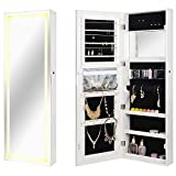 SortWise™ Lockable Jewelry Cabinet with LED Strip Wall Door Mounted Jewelry Armoire Organizer with Mirror