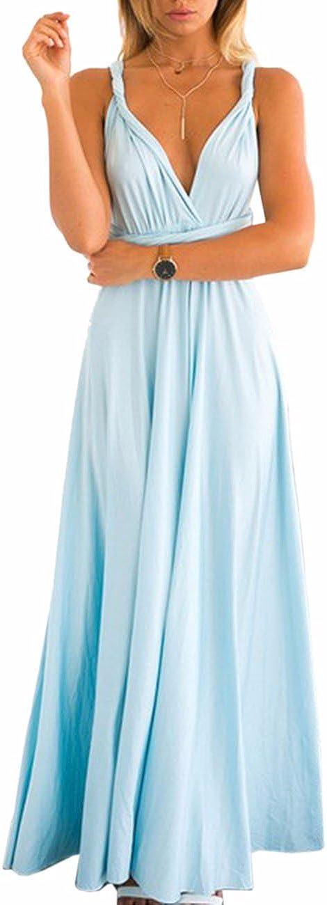 TALLA S. EMMA Mujeres Falda Larga de Cóctel Vestido de Noche Dama de Honor Elegante sin Respaldo Azul Claro S