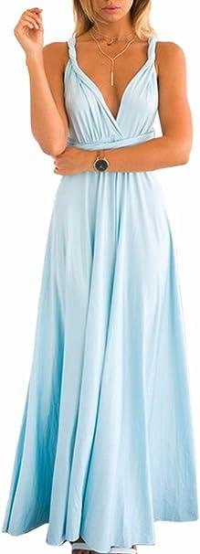 TALLA M. EMMA Mujeres Falda Larga de Cóctel Vestido de Noche Dama de Honor Elegante sin Respaldo Azul Claro