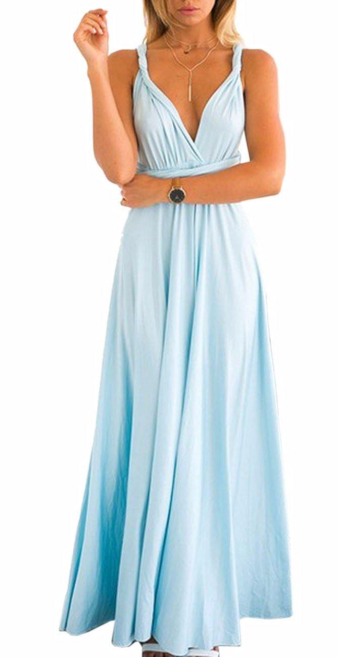 TALLA L. EMMA Mujeres Falda Larga de Cóctel Vestido de Noche Dama de Honor Elegante sin Respaldo Azul Claro