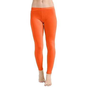 ff3cc59c34fc8 Crazy Chick® Adult Women's Microfiber Neon Orange Leggings Fancy Dress Gym  Casual Work Out Trouser