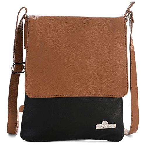 Body Tan Leather Shoulder Soft Purse Cross LIATALIA Trim amp; Real Black Size AMBER Italian Womens Medium Handbag q0ZwqYRI