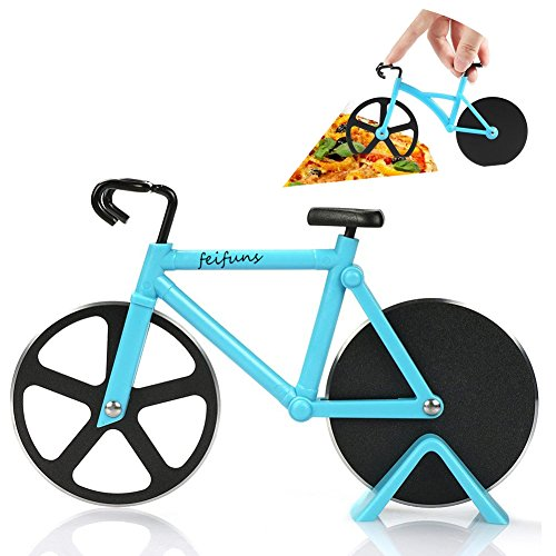 Pizza Cutter Bicycle Pizza Slicer Dual Stainless Steel Cutting Wheels with a Stand (Blue) (Bicycle Cutter Pizza)