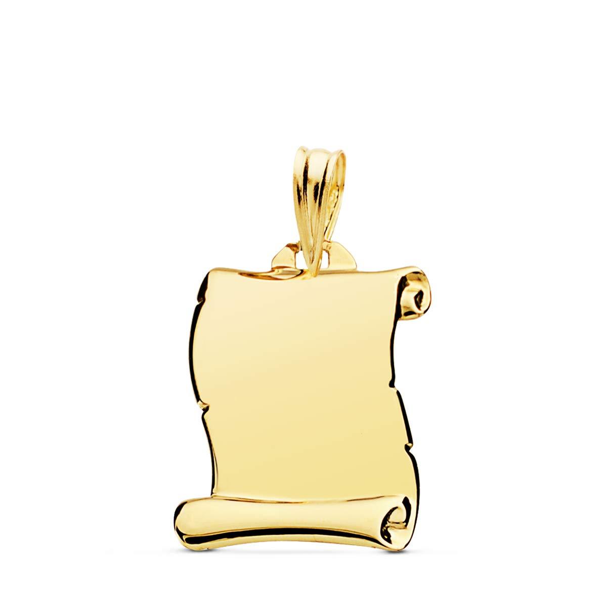 Pendentif parchemin lisse or jaune 18 carats 18 mm bijou personnalis/é