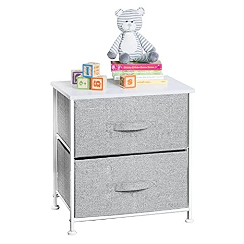 mDesign Fabric Baby 2-Drawer Dresser and Storage Organizer Unit for Nursery, Bedroom, Play Room - - Little One Drawer Pulls