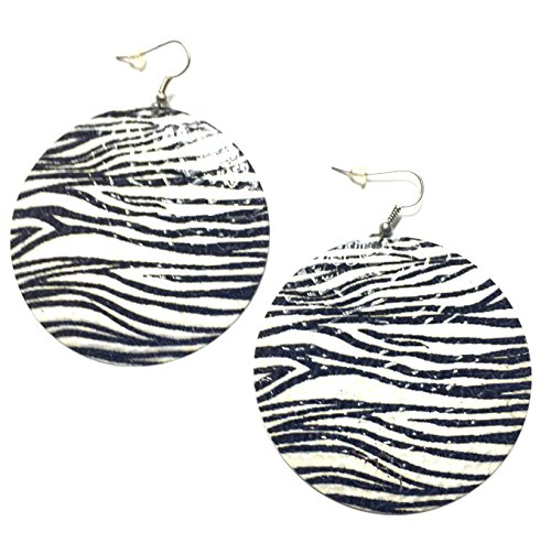 Zebra Earrings (Animal Print Earrings - round (Zebra striped))