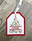 Personalized Embroidered Christmas Tree Gift Tag, Christmas Stocking Tag, Christmas Embroidered Gift Tag, Personalized Christmas Ornament