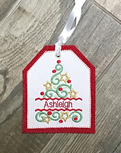 Personalized Embroidered Christmas Tree Gift Tag, Christmas Stocking Tag, Christmas Embroidered Gift Tag, Personalized Christmas Ornament by Mountain Elegance