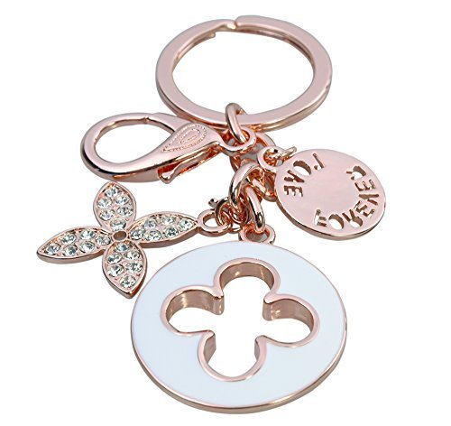 HI-BOOM Four Leaf Clover Rose Gold Plated Alloy Crystal Elements Keychain Key Ring