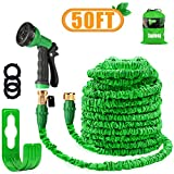 HOMOZE 50FT Garden Hose Expandable Garden Hoses Expanding Flexible Hose with Brass Fittings