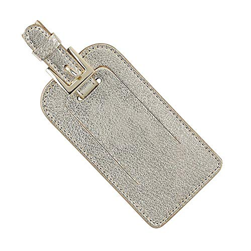 Metallic Tags - Graphic Image Metallics Leather Luggage Tags, White Gold