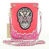Sugar Skull Calavera Crossbody Mini Messenger Bag Shoulder Purse Western Handbag (Pink)