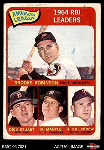 1965 Topps # 5 AL RBI Leaders Brooks Robinson / Mickey Mantle / Harmon Killebrew / Dick Stuart Orioles / Red Sox / Yankees / Twins (Baseball Card) Dean's Cards 2 - GOOD Orioles / Red Sox / Yankees / Twins ()