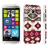 DuroCase ® HTC One M8 Hard Case White - (Red Wood Aztec)