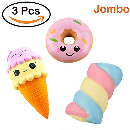 Joykith Kawaii Jumbo Ice Cream &Spun Sugar Doughnut set Squishy Slow Rising Sweet Scented Vent Charms Kid Toy Hand Toy, Stress Relief Toy, decorative props Doll Gift Fun Large by Joykith