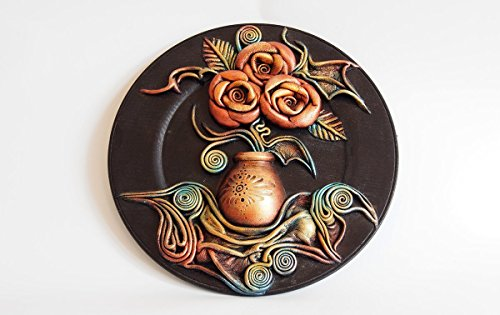 Hand Painted Wooden Plate, Leather Wall Art Decor, Hand Painted Ceramic Vase, Leather Roses, Leather Leaves, Unique Gift, 3D Wall Hanging