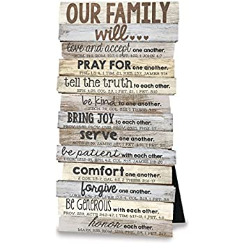 """Lighthouse Christian Products Our Family Will Wall/Desktop Plaque, 5 x 10"""""""