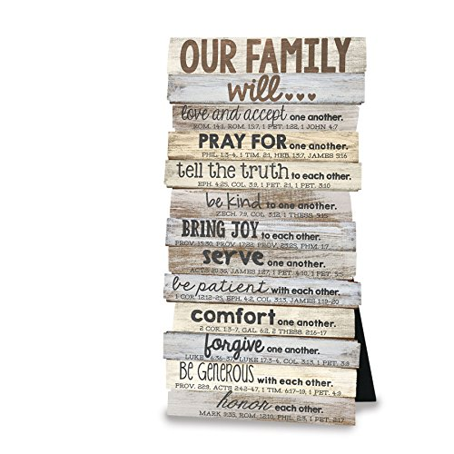 Lighthouse Christian Products Our Family Will Wall/Desktop Plaque, 5 x 10'