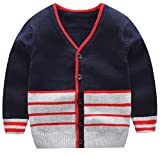 AUIE SAOSA Boy's Fashion Sweater in Autumn and Winter stripe V-neck Blue B120