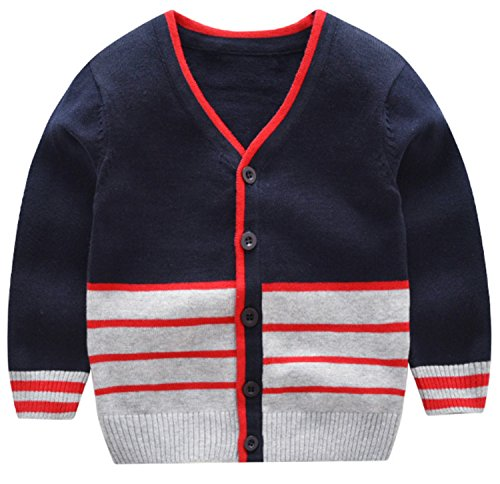 AUIE SAOSA Boy's Fashion Sweater in Autumn and Winter stripe V-neck Blue B120 by AUIE SAOSA