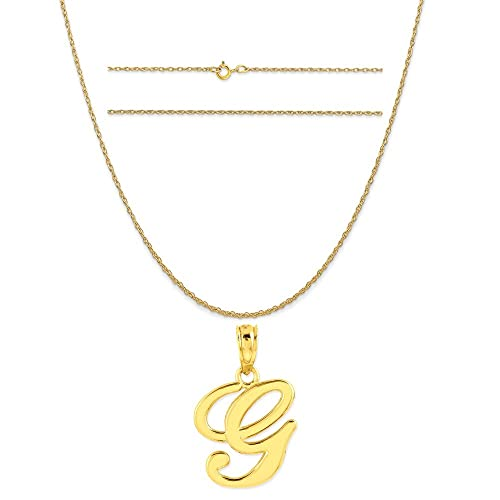 K/&C 10k Yellow Gold Mom Charm on a 14K Yellow Gold Carded Rope Chain Necklace