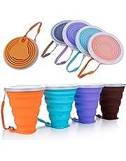 Hopfällbar silikonkopp, DEHUB silikon hopfällbar resekopp, bärbar kaffemugg med lock, större kapacitet 270 ml lätt resemugg för utomhus camping vandring, 4-pack
