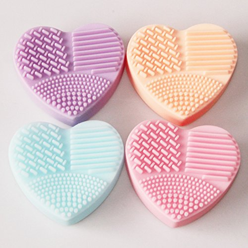 Faceted Donut Crystal (MOONBIFFY Heart Shape Clean Make up Brushes Wash Brush Silica Glove Scrubber Board Cosmetic Cleaning Tools for makeup brushes)